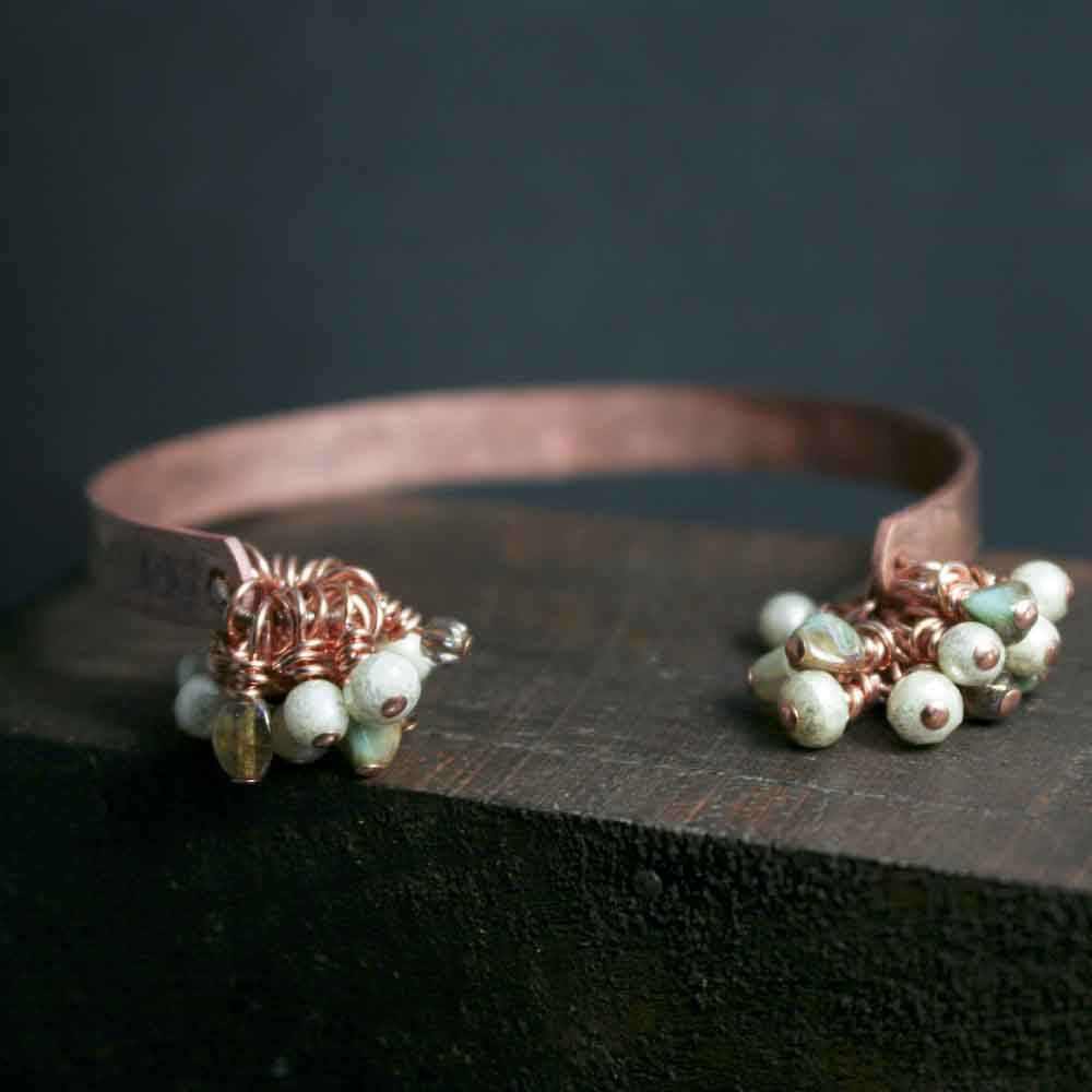 Beaded Czech Glass Dangle Open Cuff Copper Bracelet - product image