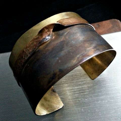 Brass,and,Copper,Cuff,Bracelet,with,Dark,Patina,dark patina, rustic cuff, cuff bracelet, brass cuff, brass bracelet