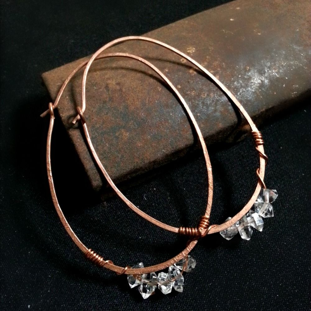 Long Egg Shape Herkimer Quartz Crystals on Copper Wire - product images  of