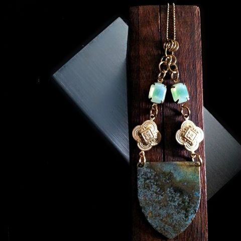 Brass,Patina,Shield,Necklace,with,Quatrefoil,Charms,and,Green,Vintage,Glass,Stones,brass jewelry, patina jewelry, patina necklace, boho jewelry, verdigris, quatrefoil jewelry