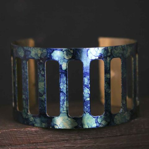 Cut,Out,Brass,Abstrack,Ink,Painted,Cuff,Bracelet,bracelet cuff, cuff bracelet, brass bracelet, patina cuff, patina, verdigris