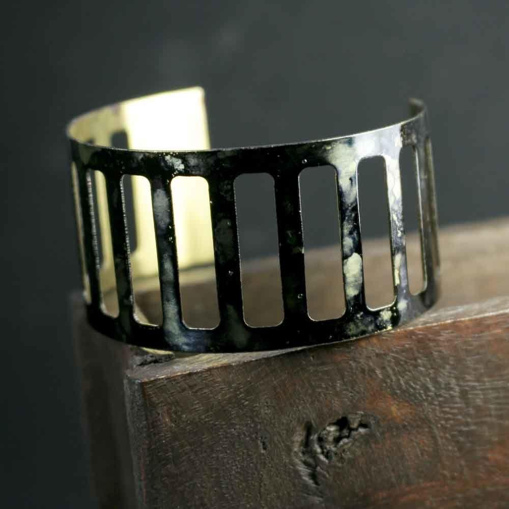 Mossy Green Ink Painted Cuff Bracelet - product images  of