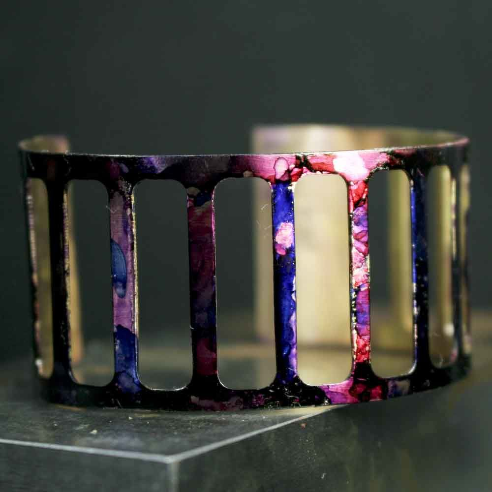 Cut Out Brass Abstract Ink Cuff Bracelet - product images  of