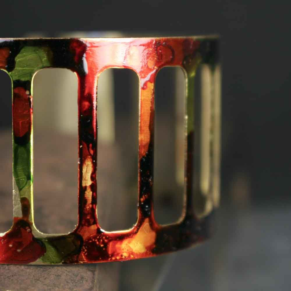 Orange Red Green Open Cage Ink Painted Cuff Bracelet - product images  of