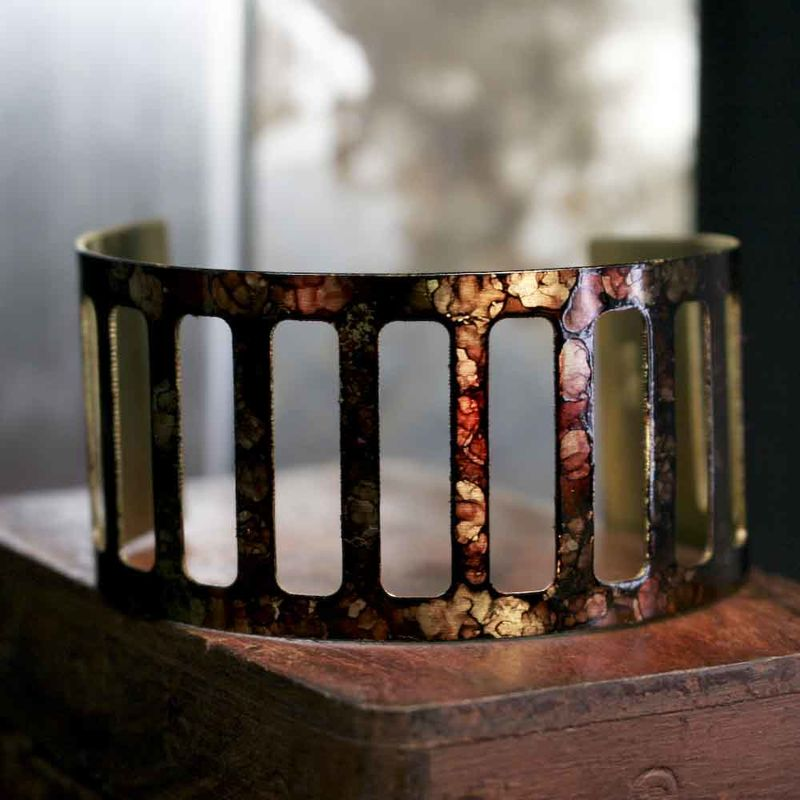 Cut Out Brass Abstract Ink Cuff Bracelet - product image