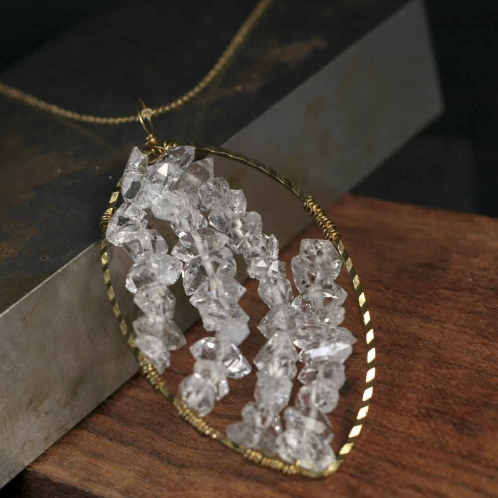 Brass Wire Wrapped Herkimer Diamond Leaf Necklace - product images  of