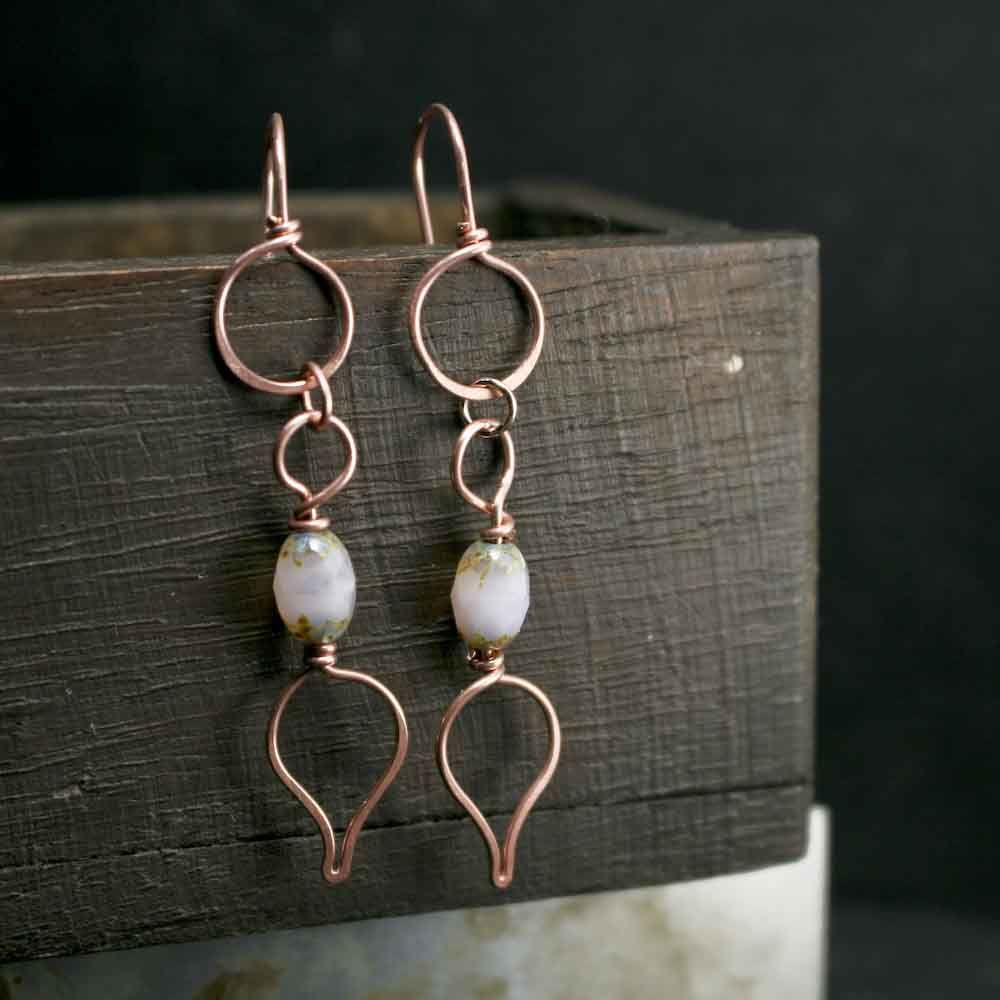 Copper and Milky Pink/Lilac Glass Dangle Drop Bead Earrings  - product images  of
