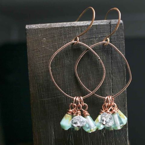Copper,Organic,Shape,Dangle,Drop,Earrings,Herkimer,Quartz,Crystals,Czech,Glass,Beads,copper earrings, herkimer earrings, glass bead earrings