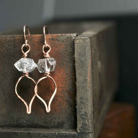 Copper,and,Raw,Herkimer,Quartz,Crystal,Dangle,Drop,Earrings,pink earrings