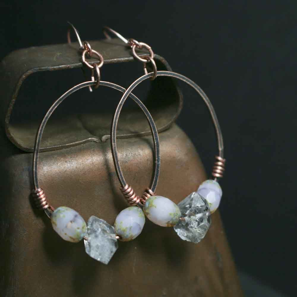 Pink Glass Beads with Herkimer Quartz Stones on Copper Earrings - product image