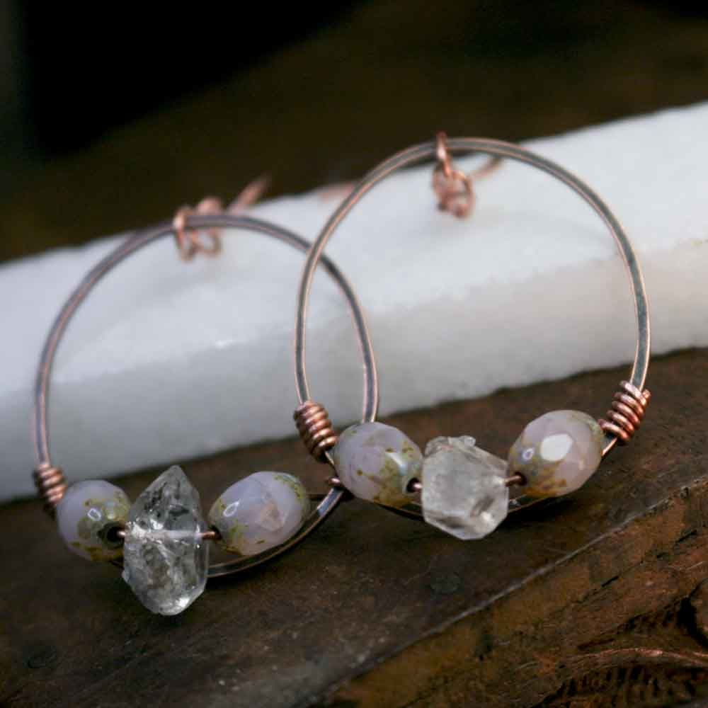 Pink Glass Beads with Herkimer Quartz Stones on Copper Earrings - product images  of
