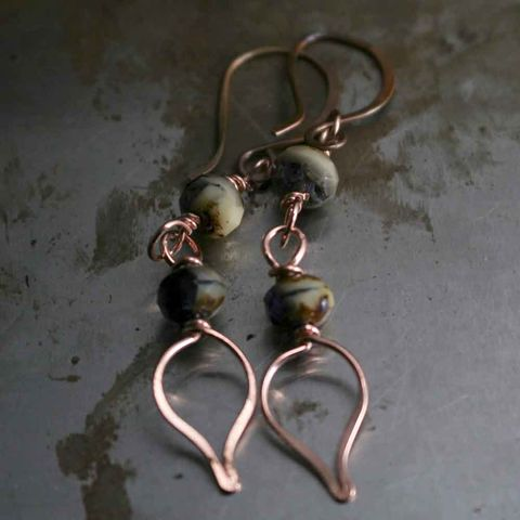 Copper,and,Dark,Purple,with,Cream,Glass,Bead,Earrings,pink earrings