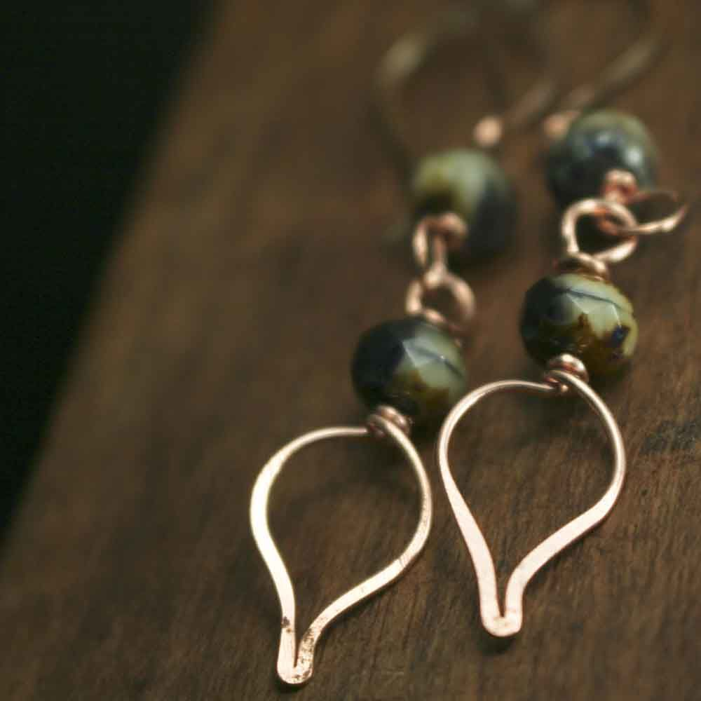Copper and Dark Purple with Cream Glass Bead Earrings - product image