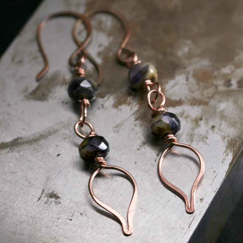 Copper and Dark Purple with Cream Glass Bead Earrings - product images  of