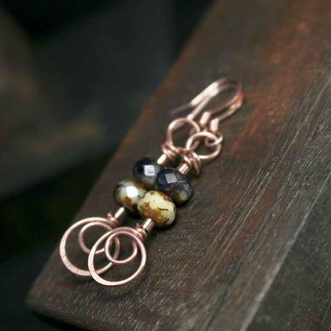 Copper,Swirl,and,Dark,Purple,with,Cream,Glass,Bead,Earrings,pink earrings