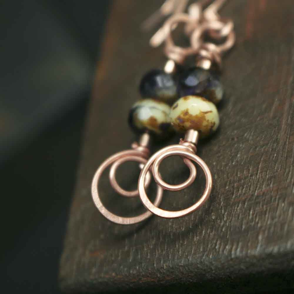 Copper Swirl and Dark Purple with Cream Glass Bead Earrings - product images  of