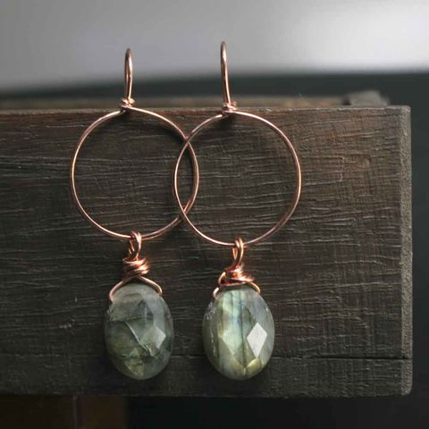 Copper,Labradorite,Gemstone,Earrings,lilac, blue, purple