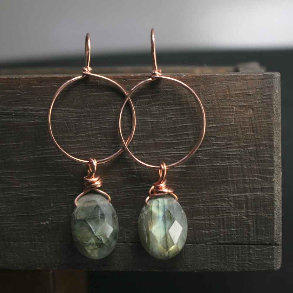 Copper Labradorite Gemstone Earrings - product image