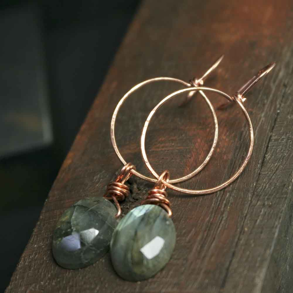 Copper Labradorite Gemstone Earrings - product images  of