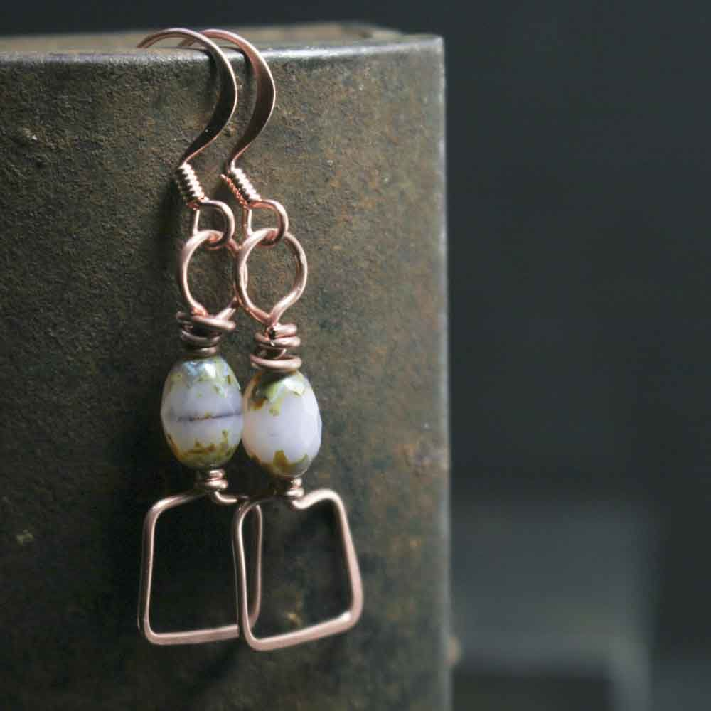 Square Copper and Milky Pink/Lilac Glass Dangle Drop Bead Earrings  - product images  of