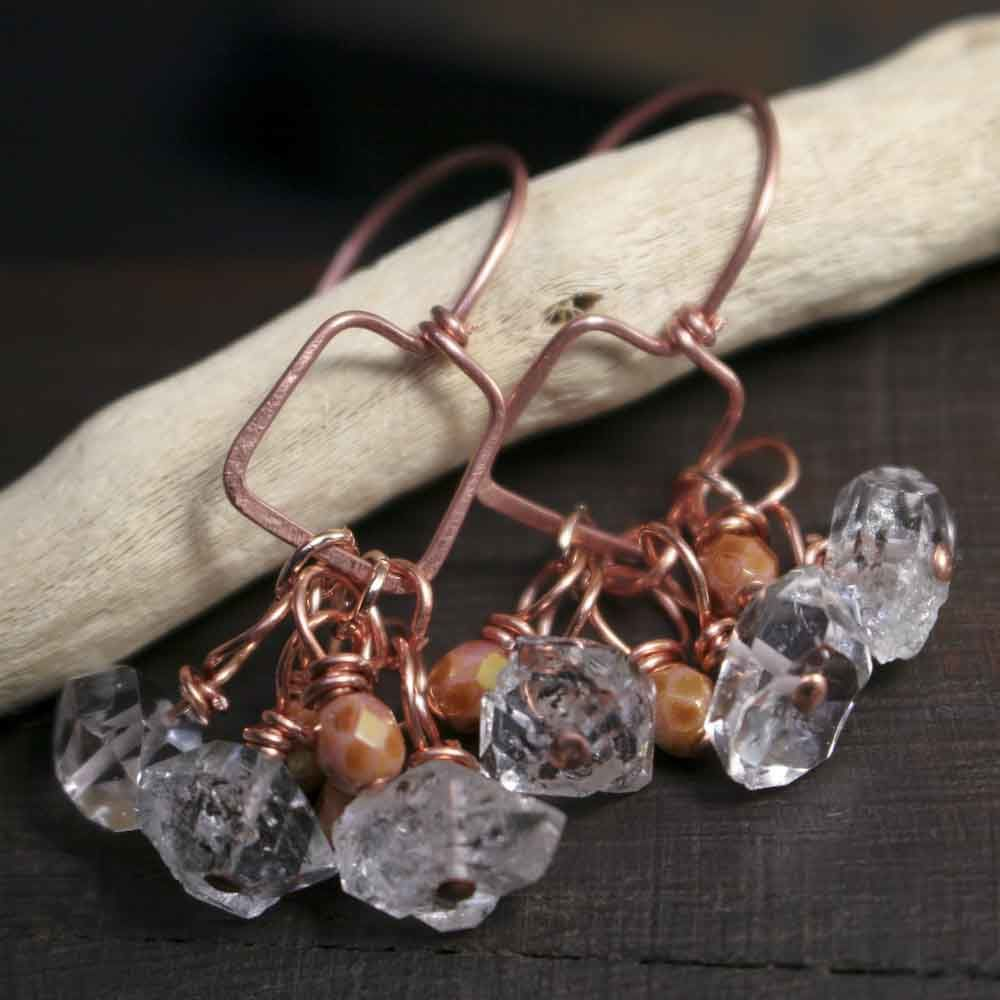 Square Copper Hoop Earrings with Herkimer Stones and Glass Beads - product images  of