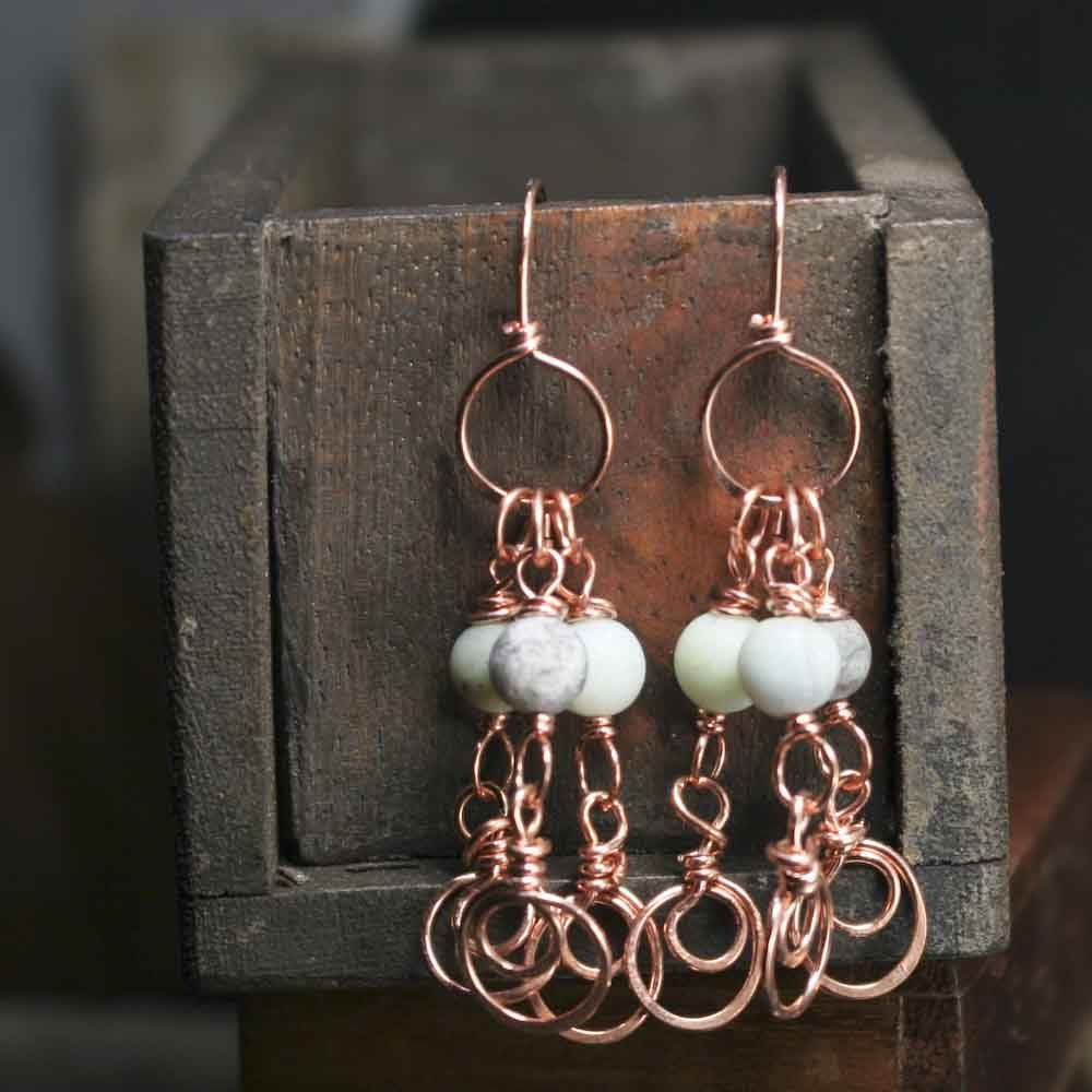 Copper Amazonite Stone with Swirls Dangle Earrings - product images  of