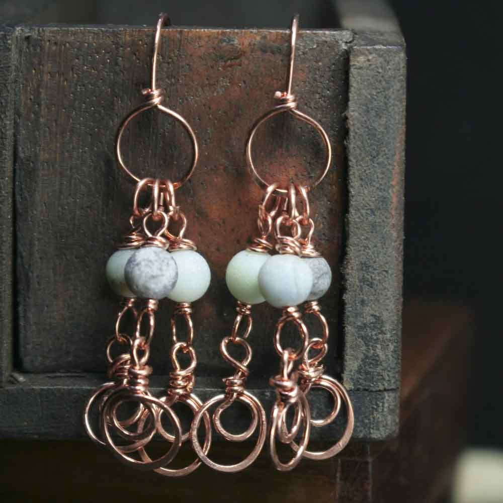 Copper Amazonite Stone with Swirls Dangle Earrings - product image