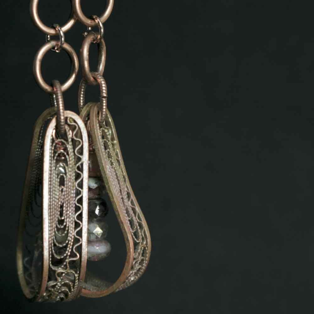 Long Fire Painted Copper Earrings with Glass Beads - product images  of