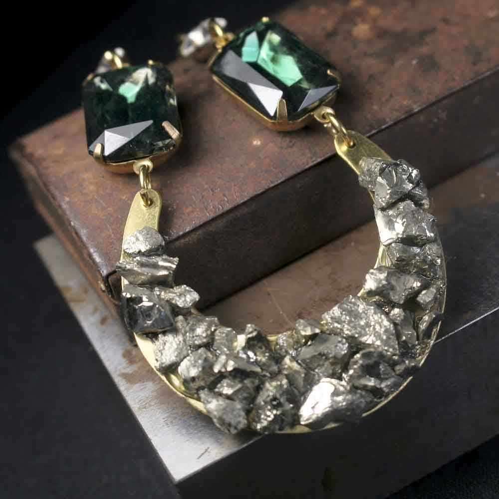 Large Pyrite Half Moon Pendant with Dark Emerald Green Vintage Glass Stones - product image