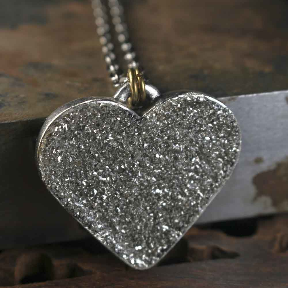 Large Heart German Glass Glitter Necklace - product images  of