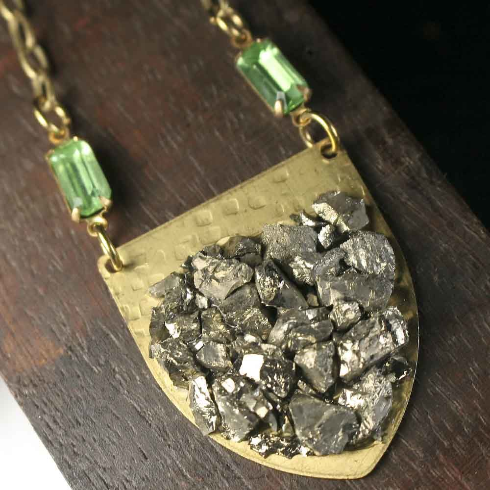 Pyrite and Brass Shield Pendant Necklace - product images  of