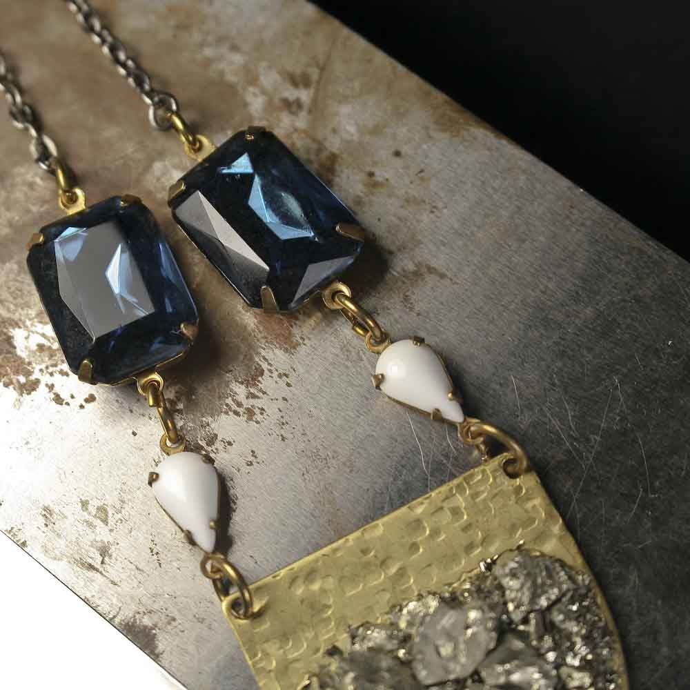 Blue and White Vintage Glass Stones with Brass Pyrite Shield Pendant Necklace - product images  of