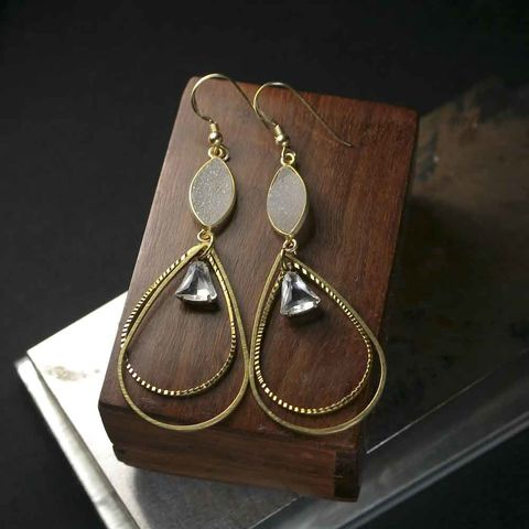 Large,Druzy,Statement,Earrings,with,Brass,Teardrop,Frames