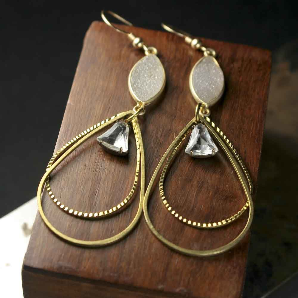 Large Druzy Statement Earrings with Brass Teardrop Frames - product images  of