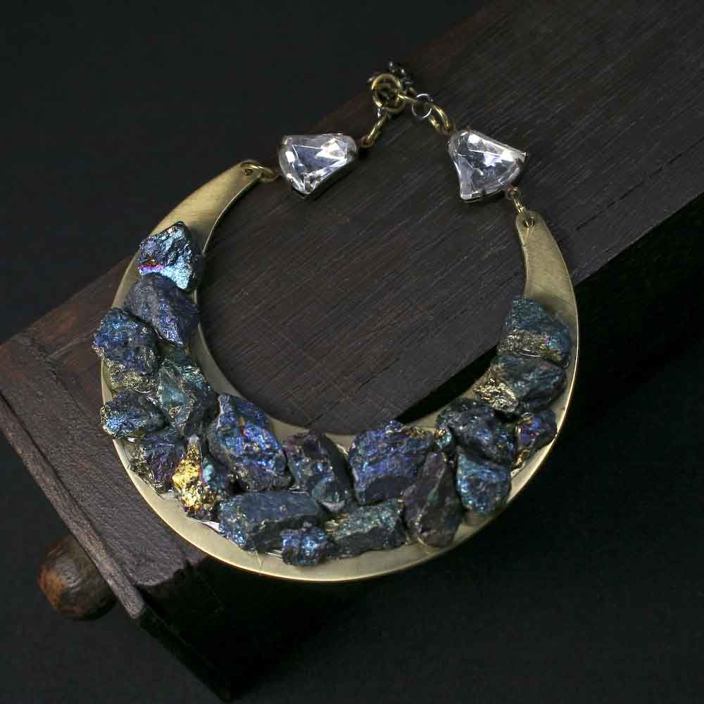 Crushed Peaock Ore on a Large Brass Crescent Pendant Necklace - product images  of