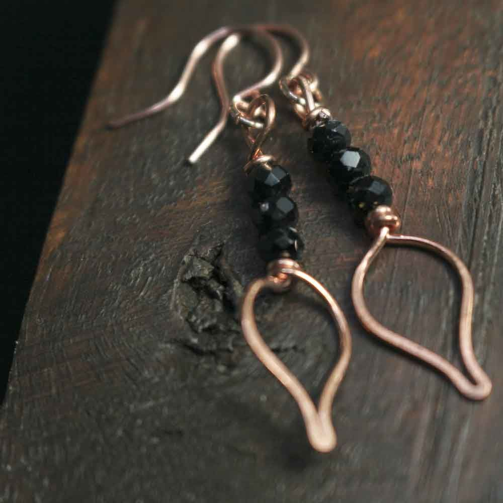Copper and Black Glass Bead Earrings - product images  of