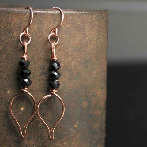 Copper,and,Black,Glass,Bead,Earrings,pink earrings