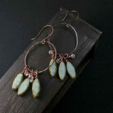 Green,and,Brown,Copper,Oval,Earrings