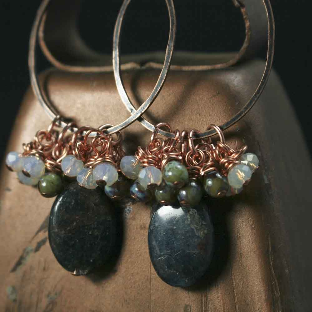 Dark Teal Apatite and Glass Copper Bead Earrings - product images  of