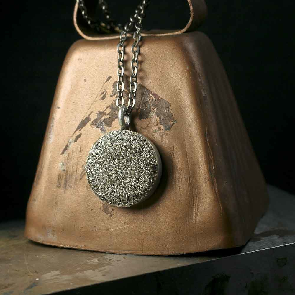 Rustic and Round Silver Glass Glitter and Pyrite Charm Pendant Necklace - product images  of