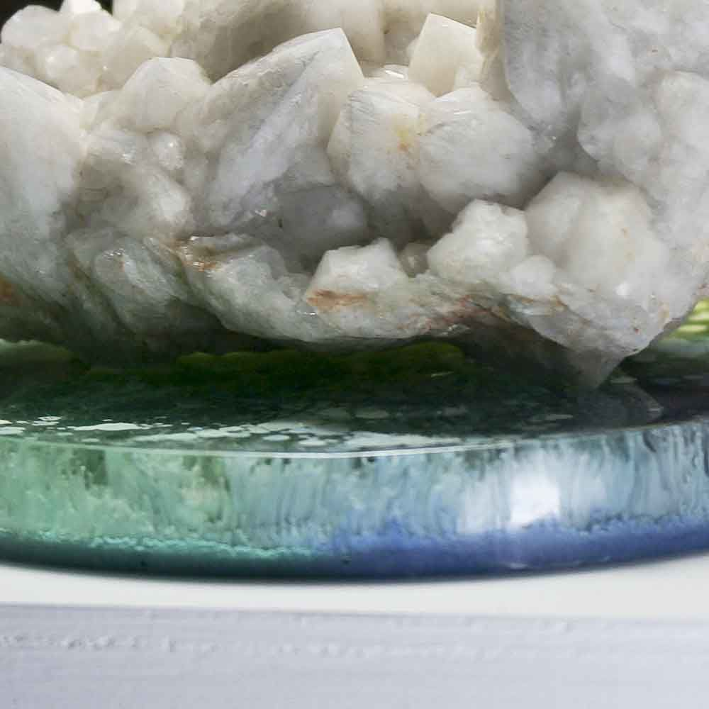 Cloudy White Crystal Cluster on Round Green and Blue Ink Painted Resin Disk - product images  of