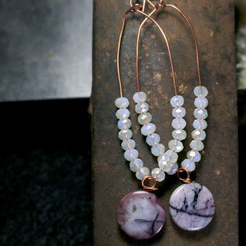 Purple,Lilac,Dyed,Agates,with,Glass,Beads,Loop,Earrings,in,Copper