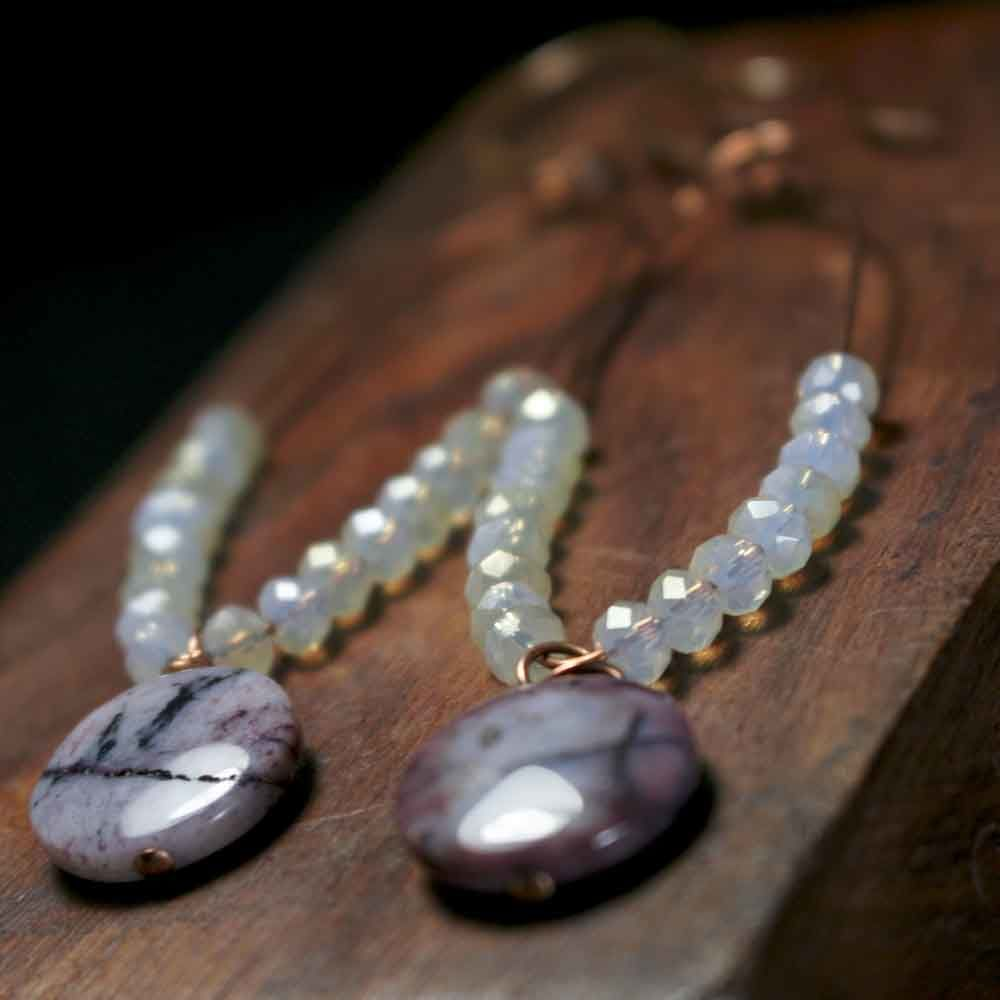 Purple Lilac Dyed Agates with Glass Beads Loop Earrings in Copper - product images  of