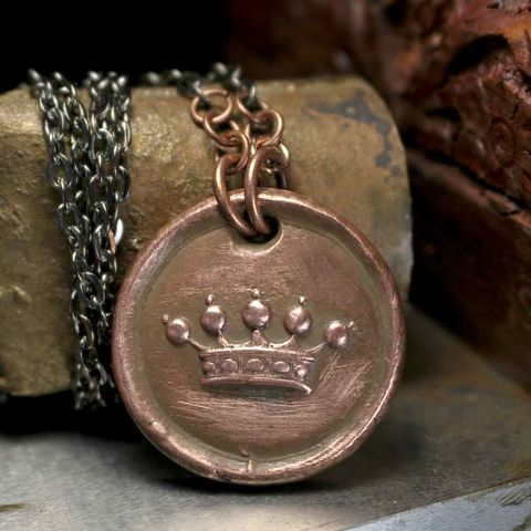 Antique,Heraldic,Crown,of,Nobility,Vintage,Wax,Seal,Charm,Pendant,Necklace,crown, princess jewelry, wax seal, queen, wax seal jewelry, crown charm