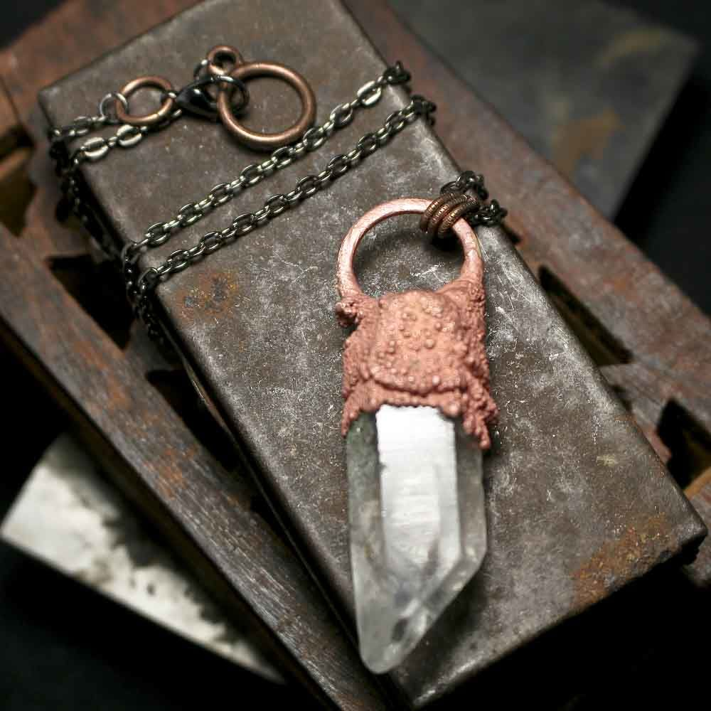 Long Raw Copper Electroformed Crystal Quartz Point - product images  of