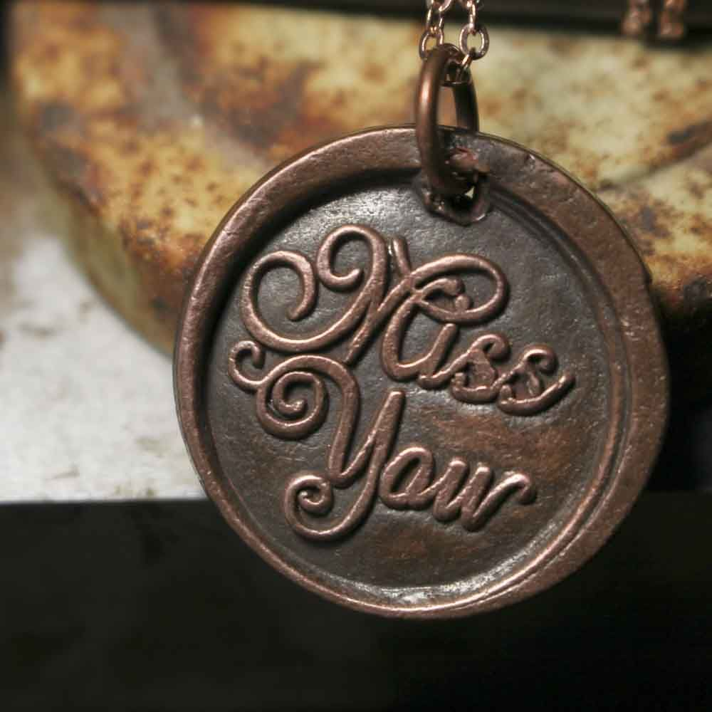 Solid Copper Miss You Wax Seal Pendant Necklace - product images  of