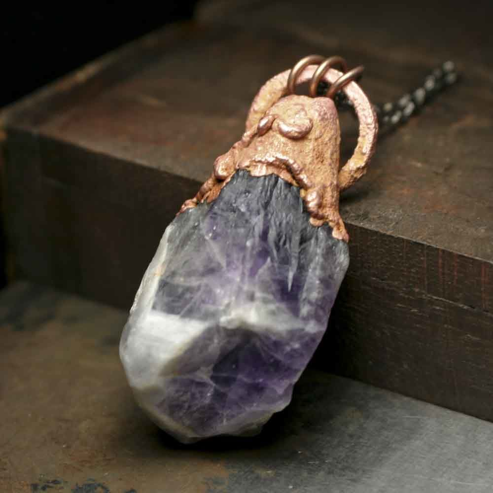 Long Raw Copper Electroformed Uruguay Amethyst Point - product images  of