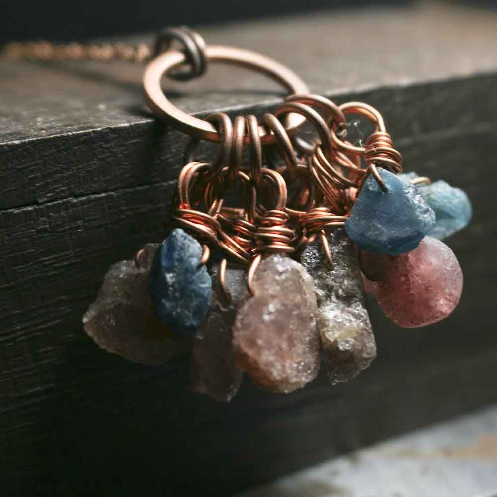 Strawberry Quartz and Teal Blue Apatite Crystal Charm Necklace - product image
