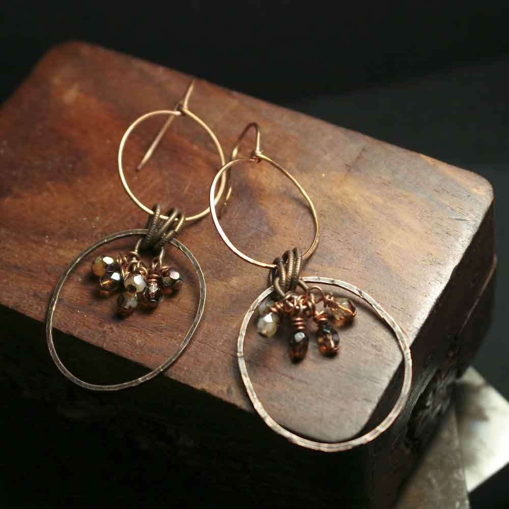 Double Hoop Drop Dangle Copper Earrings with Czech Glass Beads - product images  of