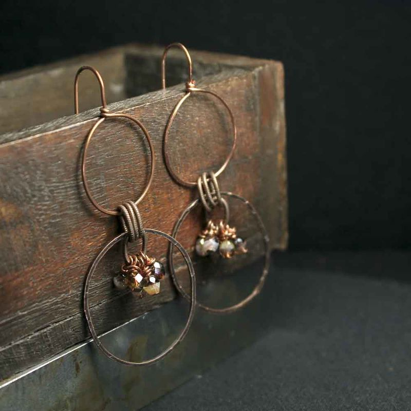 Double Hoop Drop Dangle Copper Earrings with Czech Glass Beads - product image